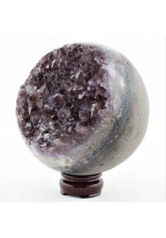 Grande Esfera Drusa Amatista Geoda Natural con Base Extra Calidad Chakra Zen A+-1