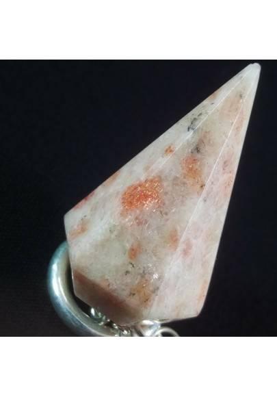 Professional Pendulum in SUN STONE HELIOLITE Divination Crystal Healing A+-1