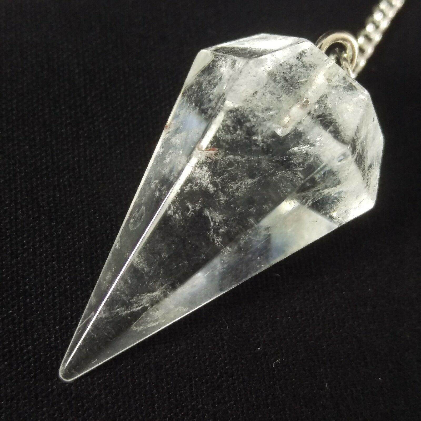 Natural Rose Quartz Heart Flower Stone Divination Silver Plate Pendant Necklace