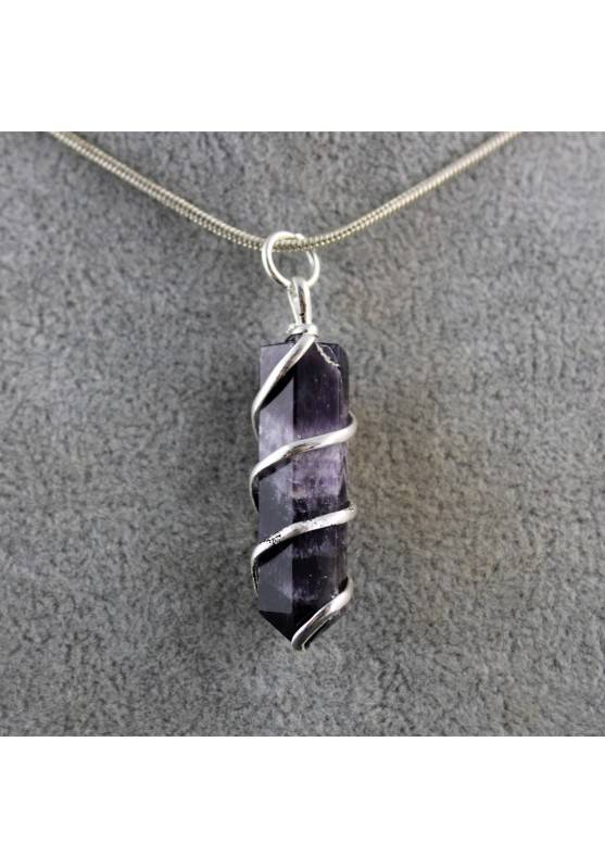 Mineral Pendant Shamanic Amethyst with Spiral Crystal Healing Chakra Reiki Zen A+-1