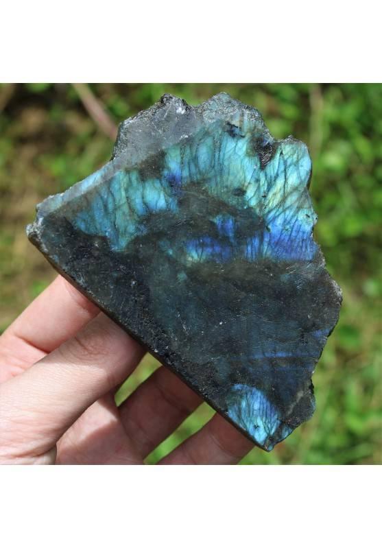 Minerale LABRADORITE Grezzo con Parte Lisciata Riflessi Oro Blu Cristalloterapia-3