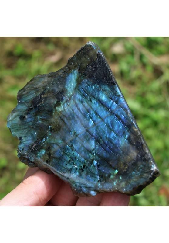 Minerale LABRADORITE Grezzo con Parte Lisciata Riflessi Oro Blu Cristalloterapia-5