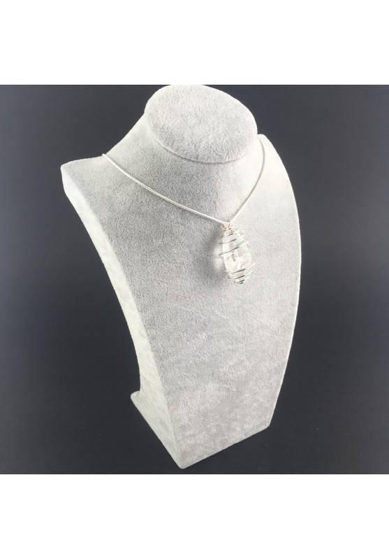 Hyaline Quartz Pendant Handmade Silver Plated Spiral A+-4