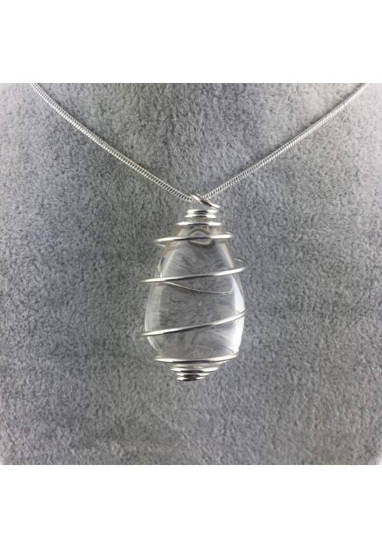 Ciondolo QUARZO IALINO Montato Artigianalmente Spirale Placcata Argento A+-1