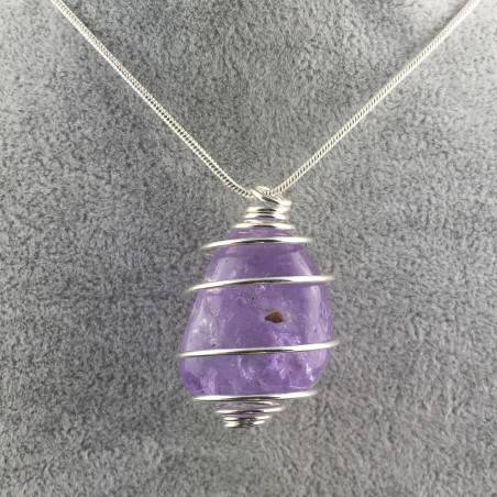AMETHYST Hand Made Pendant on Silver Plated Spiral Necklace A+-1