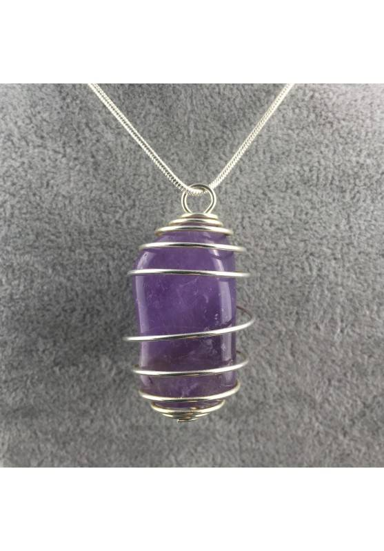 AMETHYST Hand Made Pendant on Silver Plated Spiral Necklace A+-2