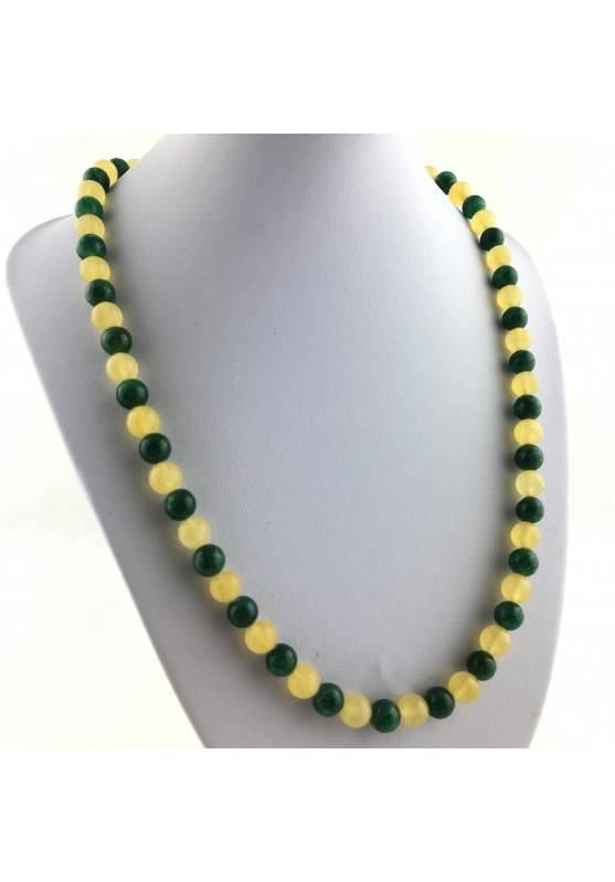 Necklace in Spheres in YELLOW CALCITE & Green Aventurine Jewel Gift Idea Chakra A+-1