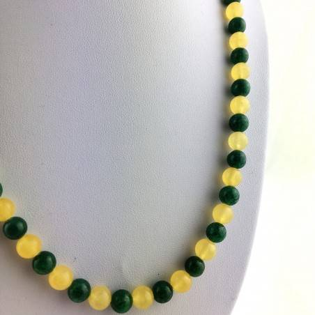 Necklace in Spheres in YELLOW CALCITE & Green Aventurine Jewel Gift Idea Chakra A+-3
