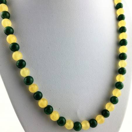 Necklace in Spheres in YELLOW CALCITE & Green Aventurine Jewel Gift Idea Chakra A+-4