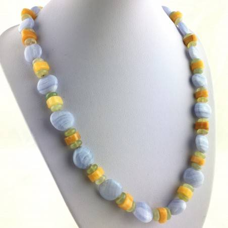 Necklace in BLUE CHALCEDONY JADE & CALCITE Jewel Gift Idea Chakra High Quality A+-1