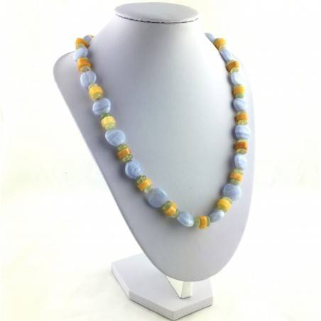 Necklace in BLUE CHALCEDONY JADE & CALCITE Jewel Gift Idea Chakra High Quality A+-2
