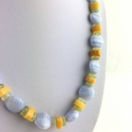Necklace in BLUE CHALCEDONY JADE & CALCITE Jewel Gift Idea Chakra High Quality A+-3