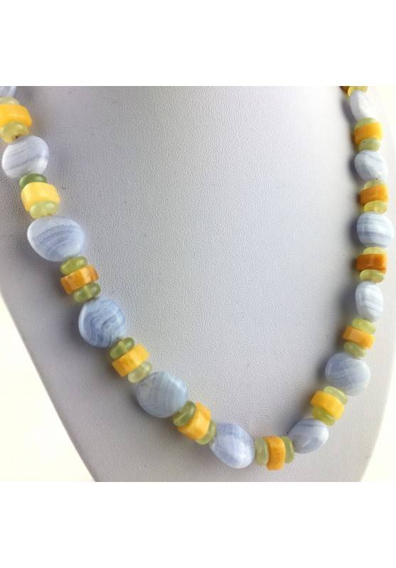 Necklace in BLUE CHALCEDONY JADE & CALCITE Jewel Gift Idea Chakra High Quality A+-4