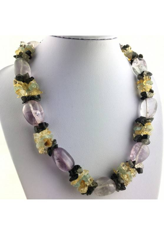 Special Necklace Tumbled Stone in Rainbow FLUORITE Chips in QUARTZ & CITRINE-1