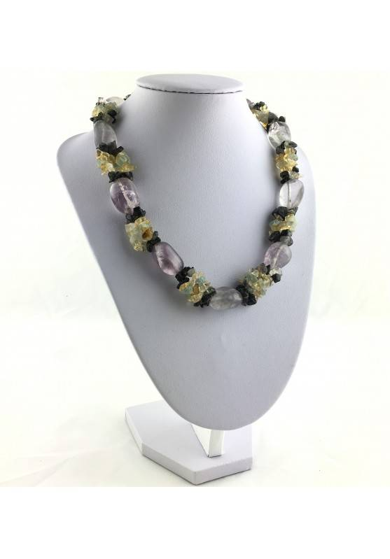 Special Necklace Tumbled Stone in Rainbow FLUORITE Chips in QUARTZ & CITRINE-2