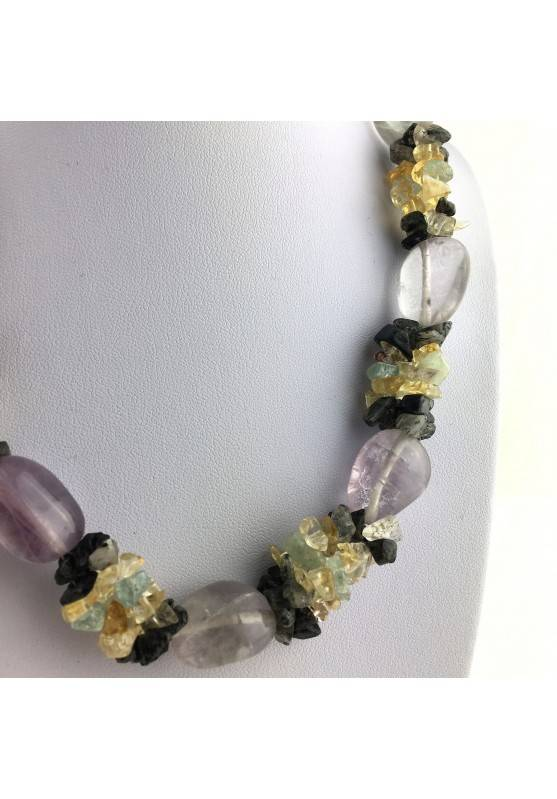 Special Necklace Tumbled Stone in Rainbow FLUORITE Chips in QUARTZ & CITRINE-3