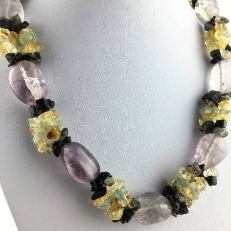 Special Necklace Tumbled Stone in Rainbow FLUORITE Chips in QUARTZ & CITRINE-4