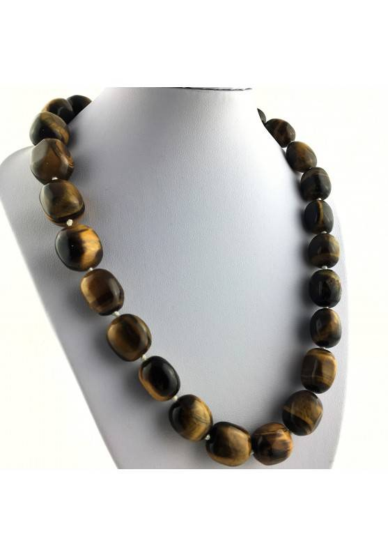 Wonderful Necklace in Tiger's EYE Tumbled Gift Idea Chakra Zen High Quality A+-1