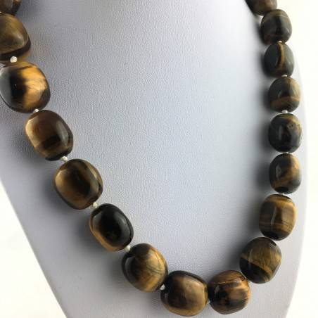 Wonderful Necklace in Tiger's EYE Tumbled Gift Idea Chakra Zen High Quality A+-4