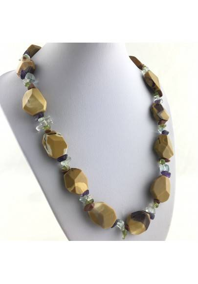 Necklace In MOOKAITE Jasper & Chips in Mixed Minerals Gift Idea Quality A+ Zen-1