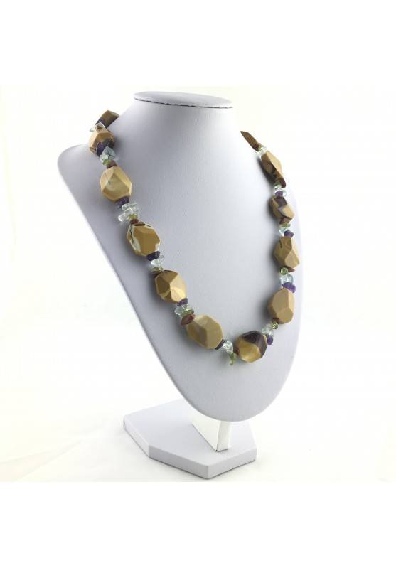 Necklace In MOOKAITE Jasper & Chips in Mixed Minerals Gift Idea Quality A+ Zen-2
