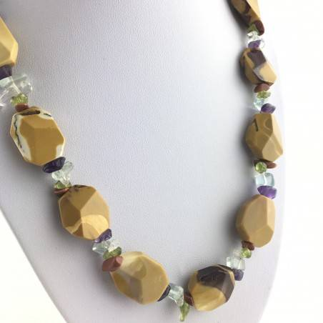 Necklace In MOOKAITE Jasper & Chips in Mixed Minerals Gift Idea Quality A+ Zen-3
