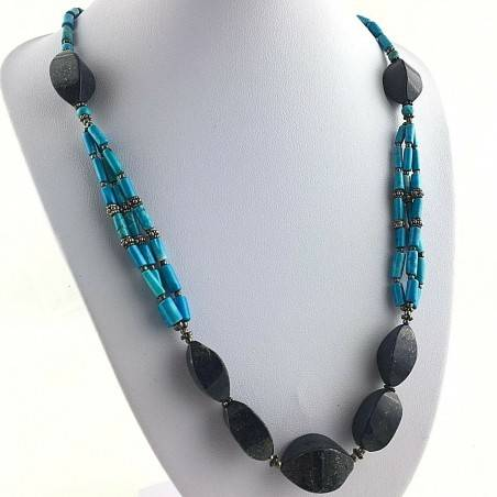 Precious Necklace in Lapis Lazuli & TURQUOISE in Very High Quality Chakra A+-1