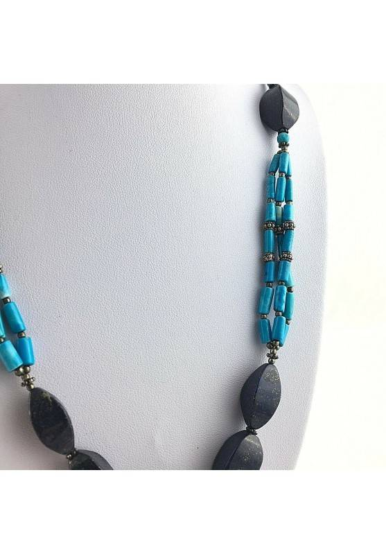 Precious Necklace in Lapis Lazuli & TURQUOISE in Very High Quality Chakra A+-2