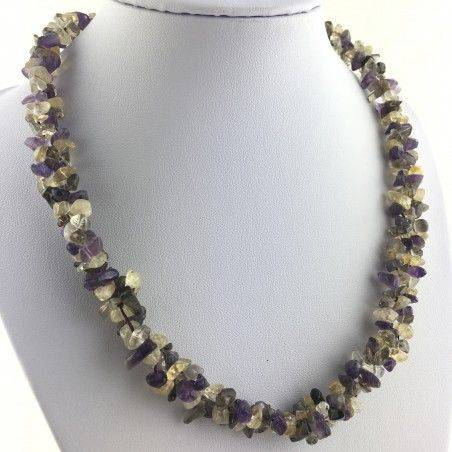 Precious Necklace Chips of Hyaline Quartz Smoked CITRINE CARNELIAN AMETHYST-1
