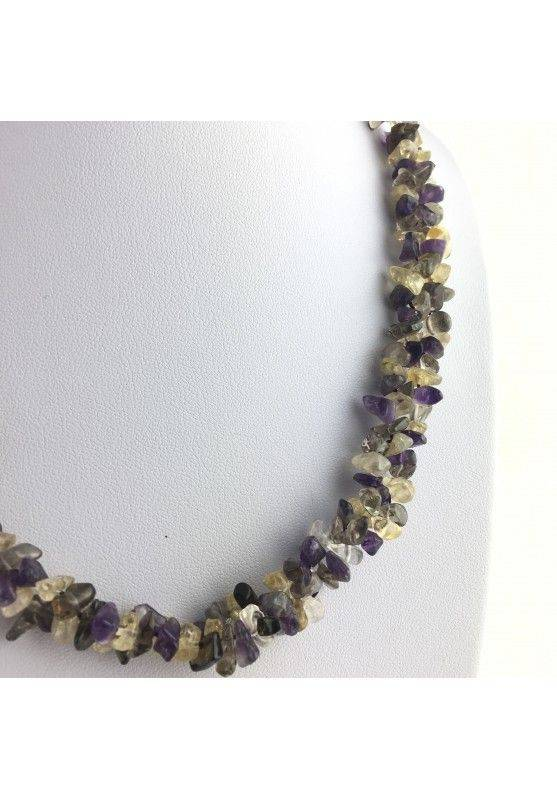 Precious Necklace Chips of Hyaline Quartz Smoked CITRINE CARNELIAN AMETHYST-2
