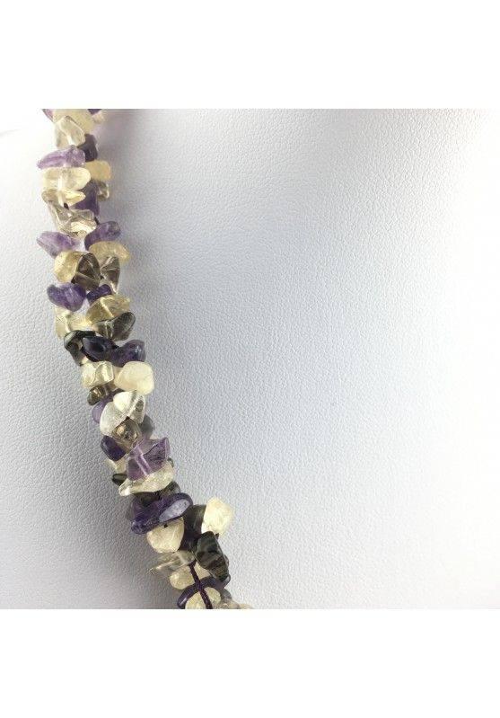 Precious Necklace Chips of Hyaline Quartz Smoked CITRINE CARNELIAN AMETHYST-3