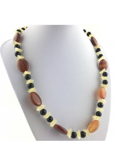 Wonderful Necklace in CARNELIAN AGATE YELLOW CALCITE & ONIX NERA Gift Quality A+-1