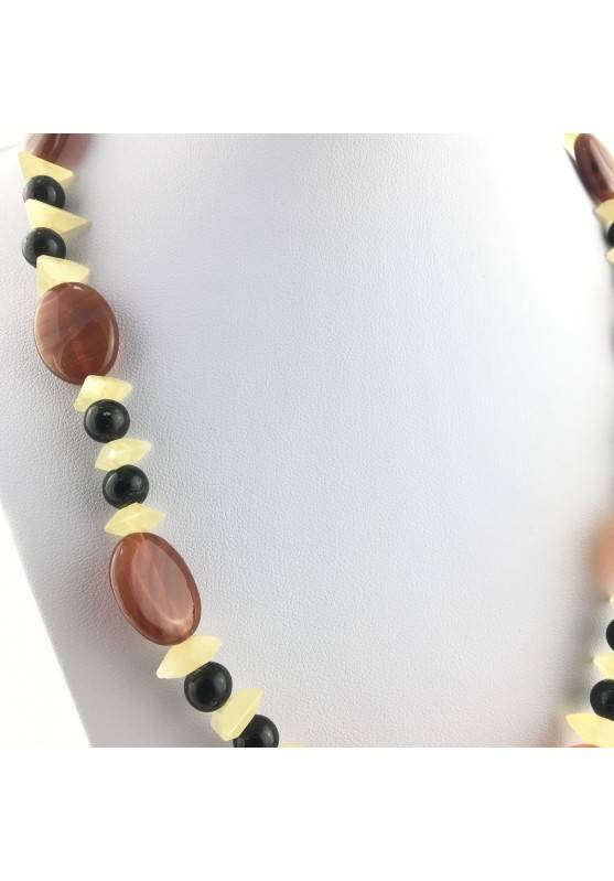 Wonderful Necklace in CARNELIAN AGATE YELLOW CALCITE & ONIX NERA Gift Quality A+-3