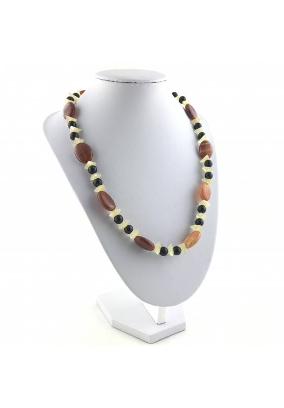Wonderful Necklace in CARNELIAN AGATE YELLOW CALCITE & ONIX NERA Gift Quality A+-4