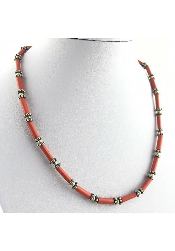 Precious Necklace in Coral Red with Silver Reiki High Quality Jewel  A+-1