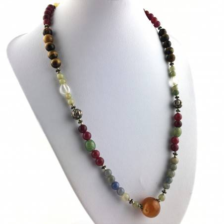 Wonderful Necklace in CARNELIAN Hyaline Quartz Tiger's EYE AVENTURINE CALCITE-1