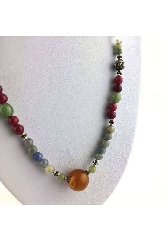 Wonderful Necklace in CARNELIAN Hyaline Quartz Tiger's EYE AVENTURINE CALCITE-2