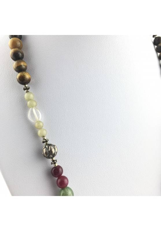 Wonderful Necklace in CARNELIAN Hyaline Quartz Tiger's EYE AVENTURINE CALCITE-3