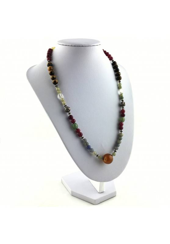 Wonderful Necklace in CARNELIAN Hyaline Quartz Tiger's EYE AVENTURINE CALCITE-4