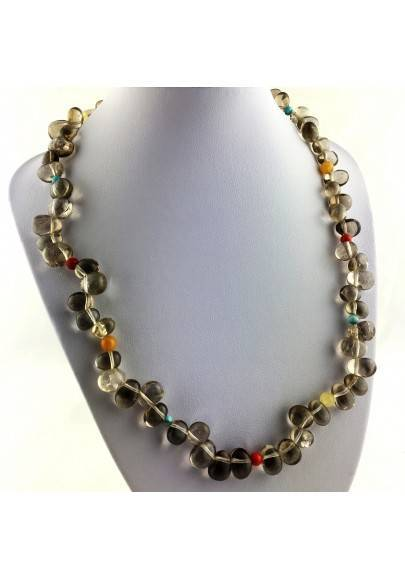 Perfect Necklace in Smoked QUARTZ TURQUOISE CARNELIAN & CALCITE Gift Idea High Quality-1