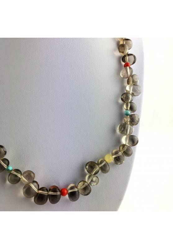 Perfect Necklace in Smoked QUARTZ TURQUOISE CARNELIAN & CALCITE Gift Idea High Quality-2