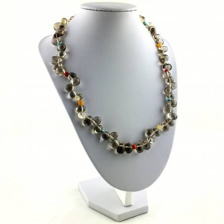 Perfect Necklace in Smoked QUARTZ TURQUOISE CARNELIAN & CALCITE Gift Idea High Quality-3