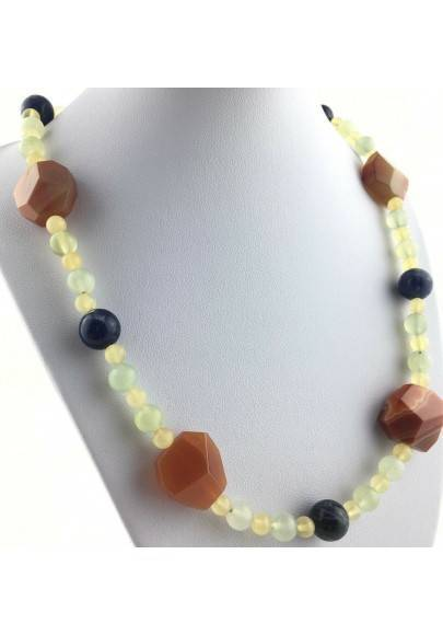 Necklace in SODALITE CARNELIAN CALCITE JADE MINERALS Chakra Zen High Quality A+-1