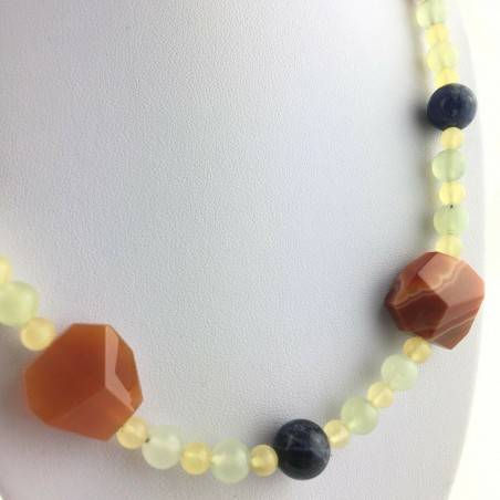 Necklace in SODALITE CARNELIAN CALCITE JADE MINERALS Chakra Zen High Quality A+-2