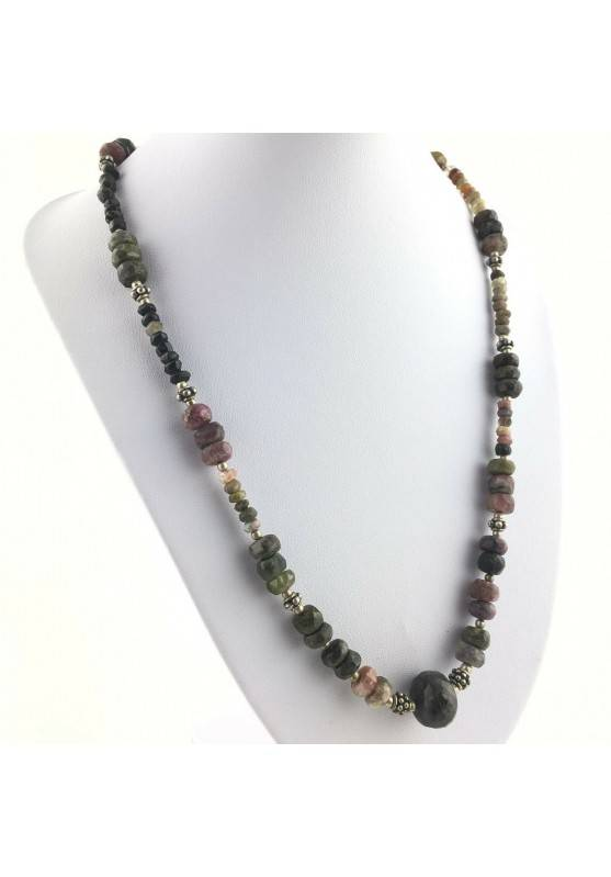 Precious Necklace in MIXED Tourmaline Faceted MINERALS Reiki High Quality A+-1
