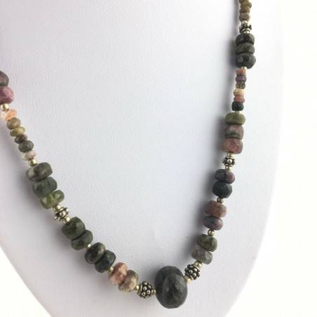 Precious Necklace in MIXED Tourmaline Faceted MINERALS Reiki High Quality A+-2