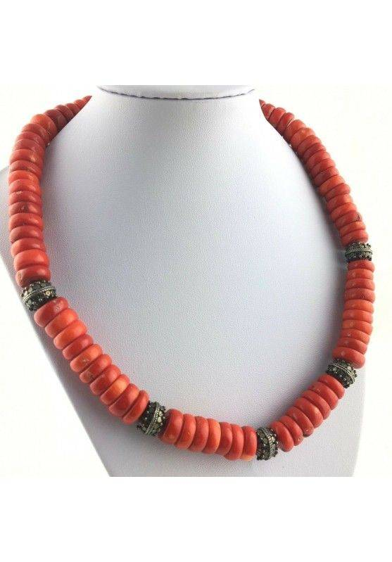 Precious Necklace in Coral Red Authentic MINERALS Gift Idea Zen High Quality A+-1