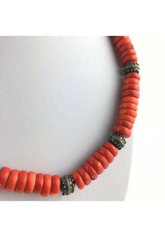 Precious Necklace in Coral Red Authentic MINERALS Gift Idea Zen High Quality A+-2
