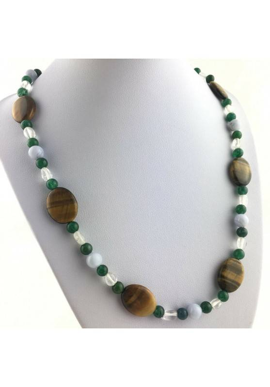 Necklace in Tigers Eye Hyaline Quartz BLUE CHALCEDONY Green Aventurine A+-1
