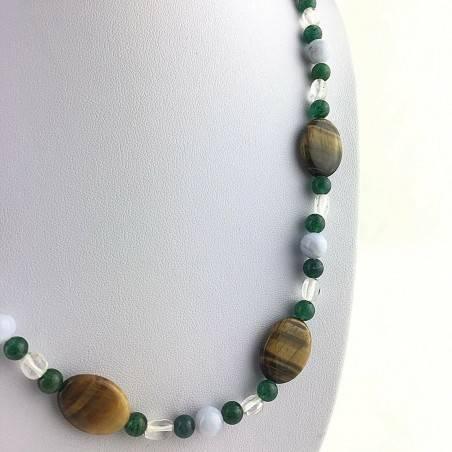 Necklace in Tigers Eye Hyaline Quartz BLUE CHALCEDONY Green Aventurine A+-2